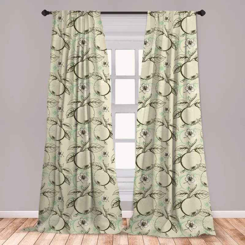ambesonne apple window curtains vintage style abstract composition with apples leaves flowers grunge look lightweight decorative panels set of 2