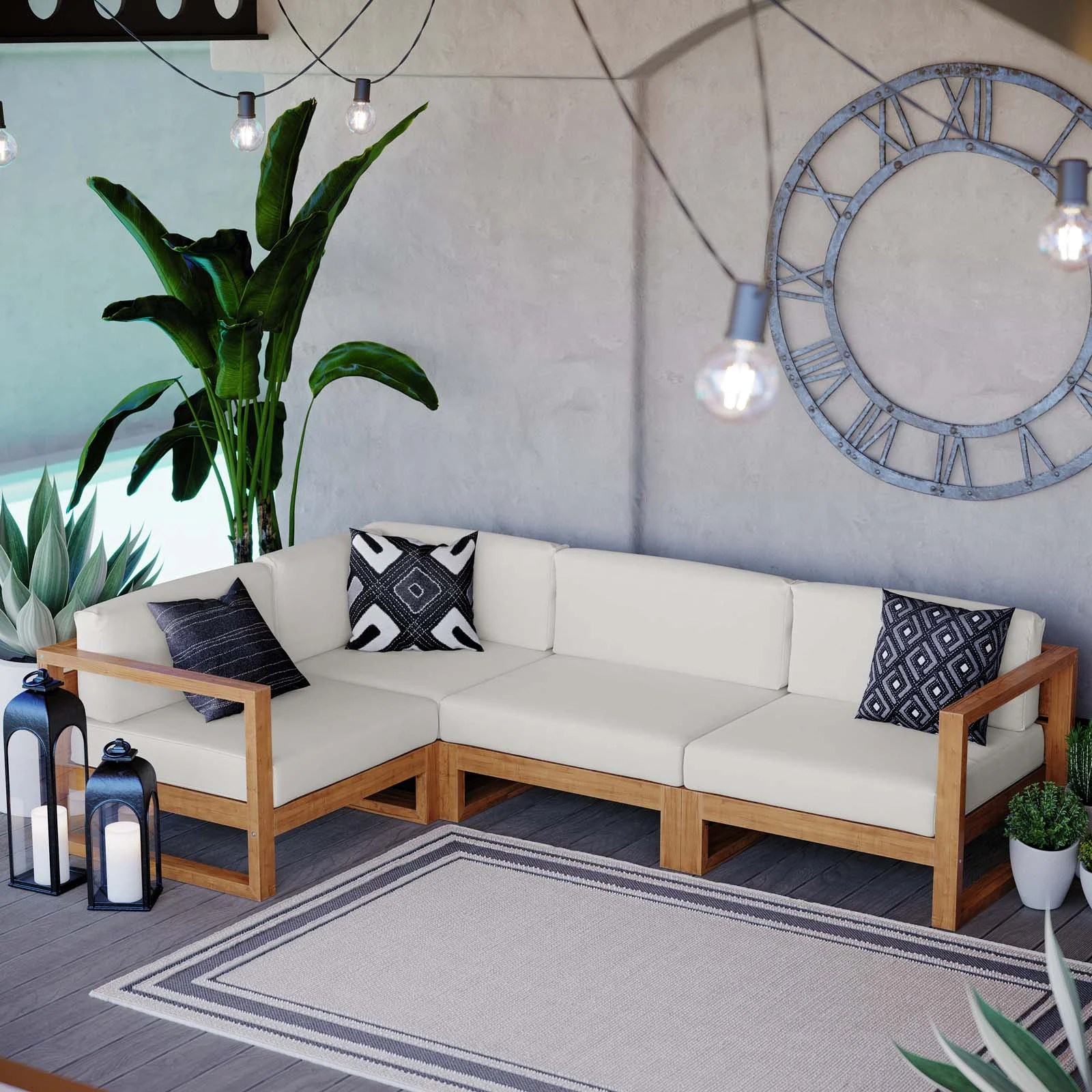 cambridge teak patio sectional with cushions