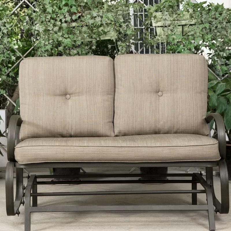 reculver patio wrought iron glider bench