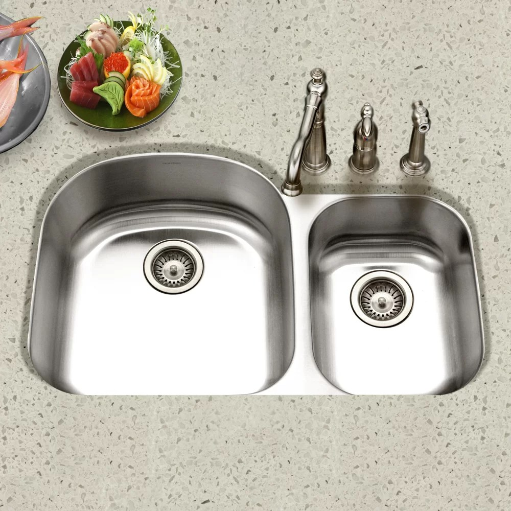 eston 32 19 l x 20 5 w undermount 70 30 double bowl kitchen sink