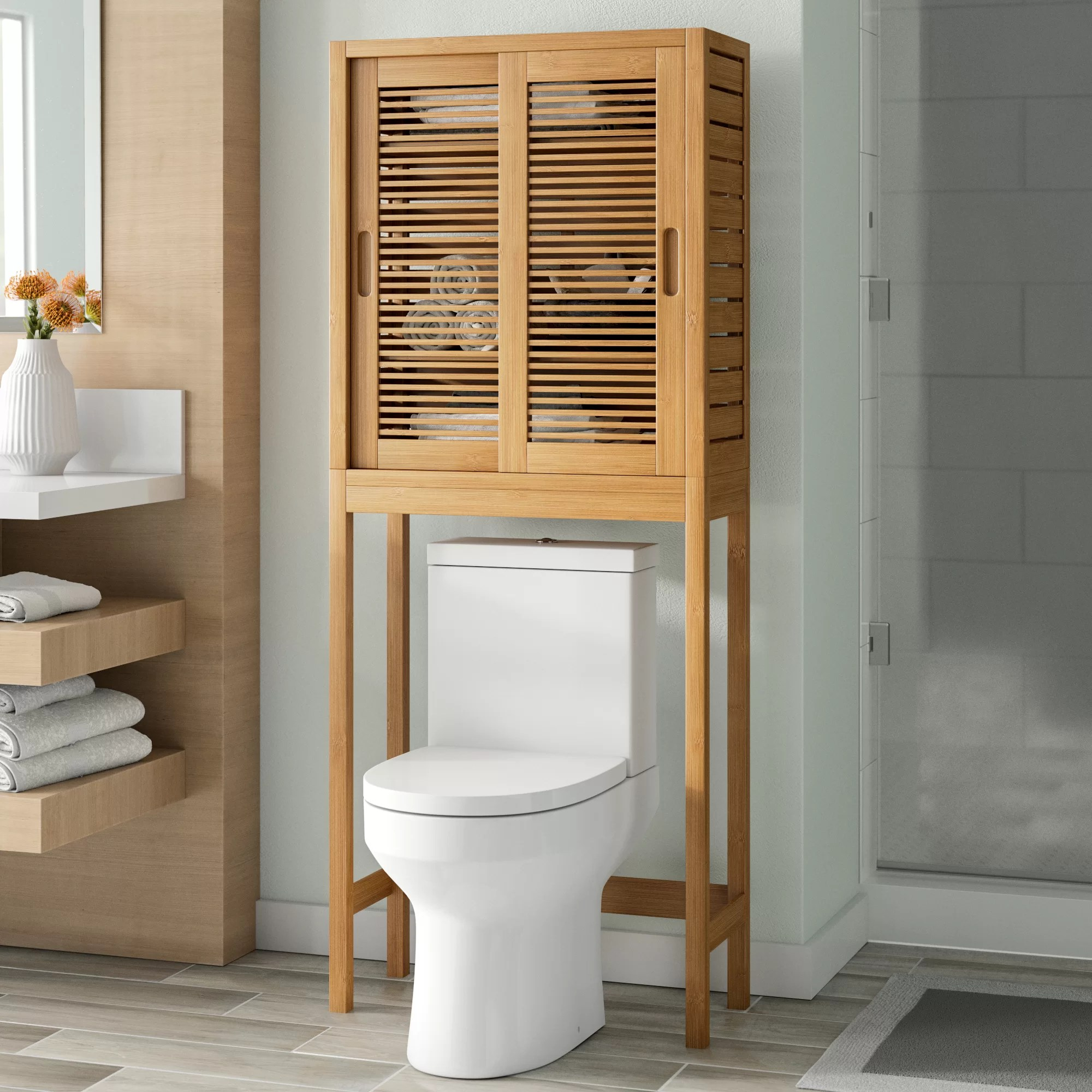 Brown Over The Toilet Bathroom Cabinets Shelving You Ll Love In 2020 Wayfair
