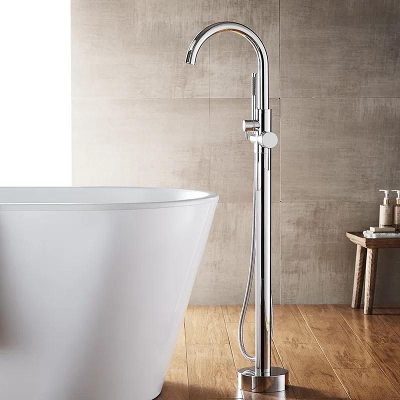 berkeley single handle floor mount freestanding tub filler trim with hand shower