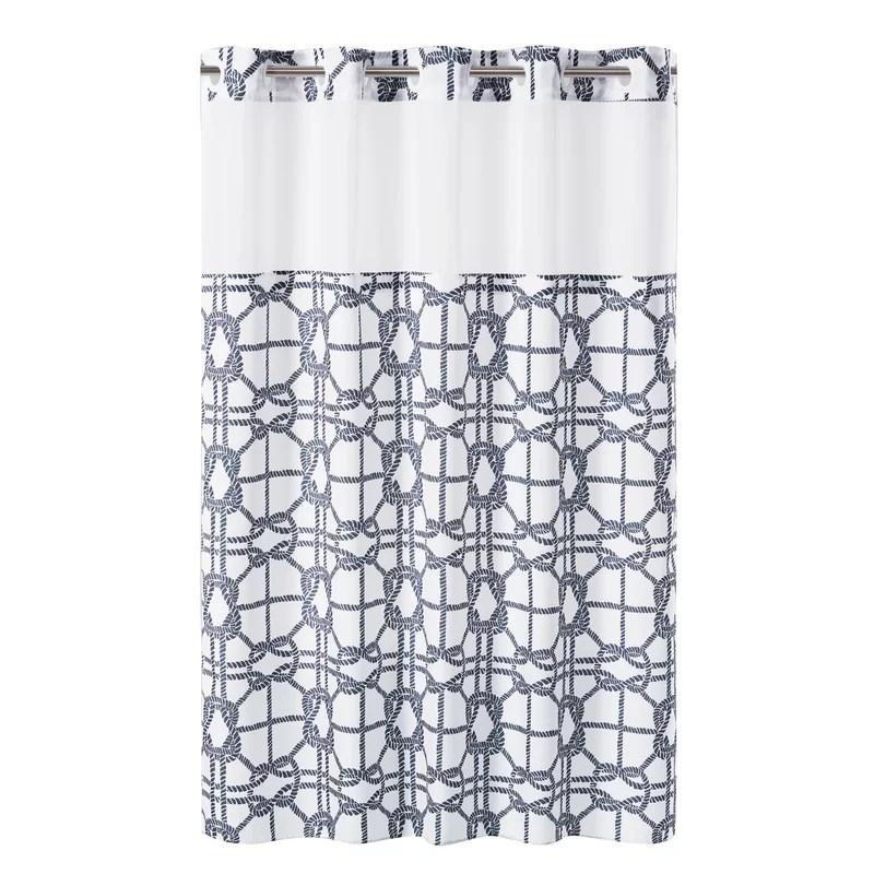 hookless shower curtain nautical lattice with peva liner navy