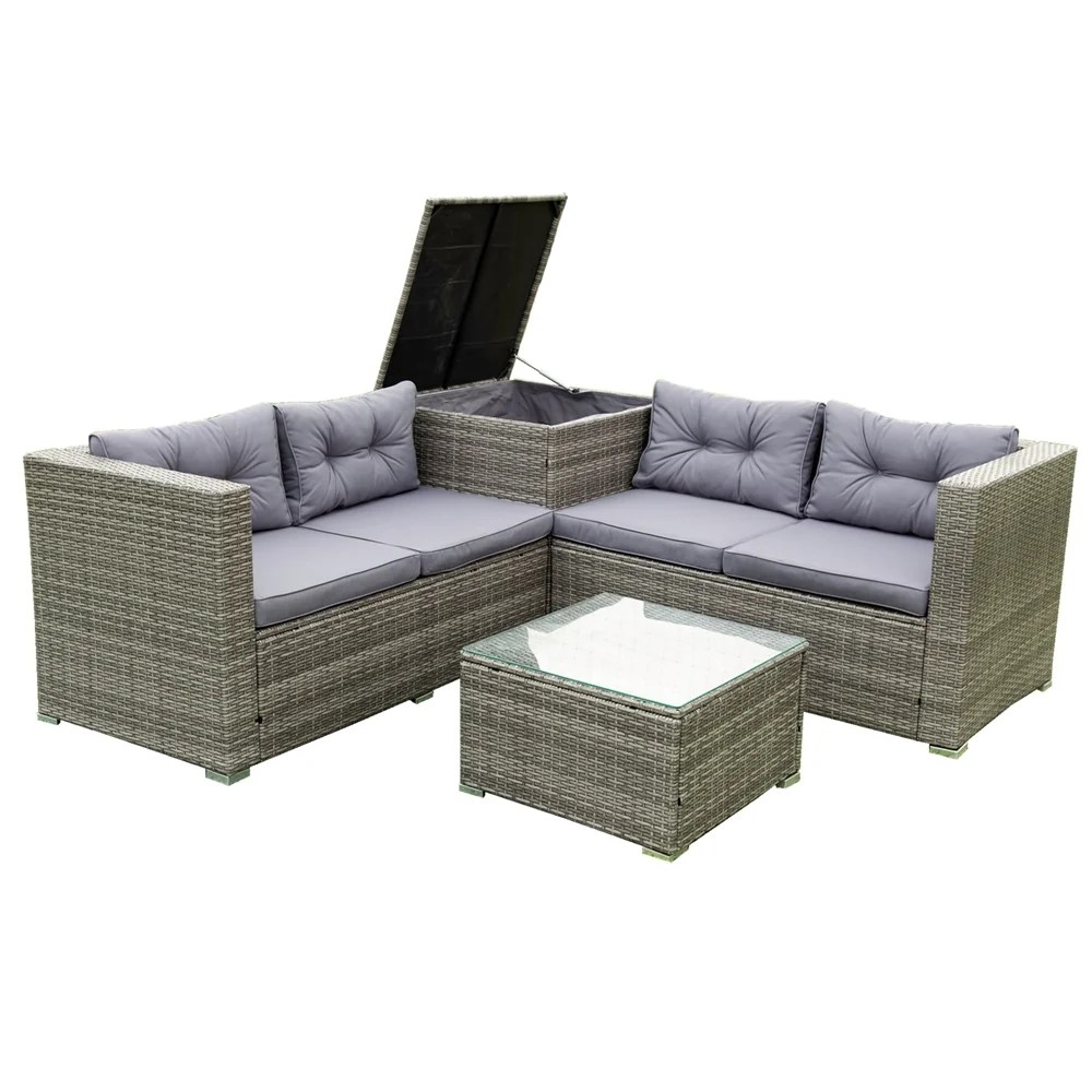 4 piece patio sectional wicker rattan outdoor furniture sofa set with storage box