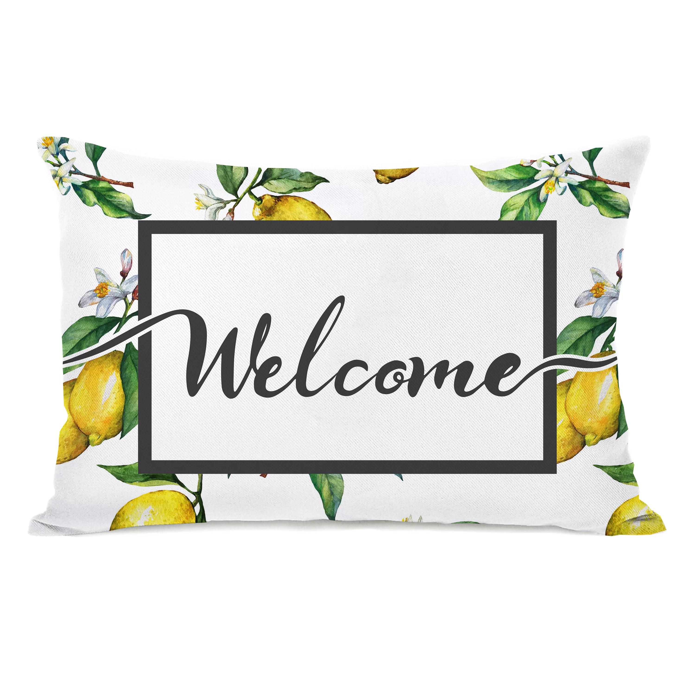 fenderson welcome lemon outdoor lumbar pillow