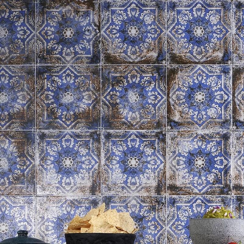 box of 12 8x8 flora blue porcelain