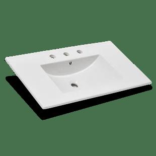 24 single bathroom vanity top in white with sink