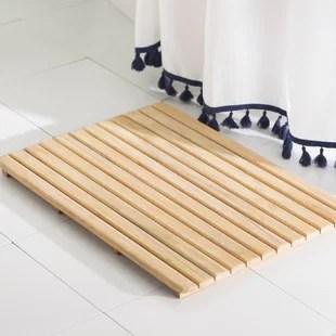 tapis de bain materiau teck et bois