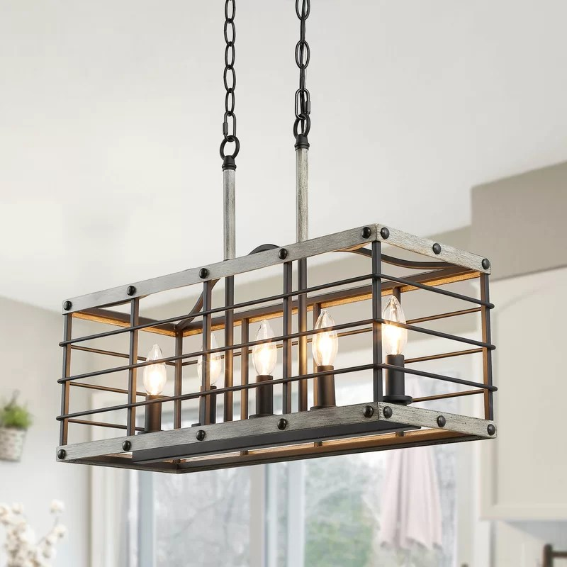 sylvie 5 light kitchen island linear pendant with wrought iron accents