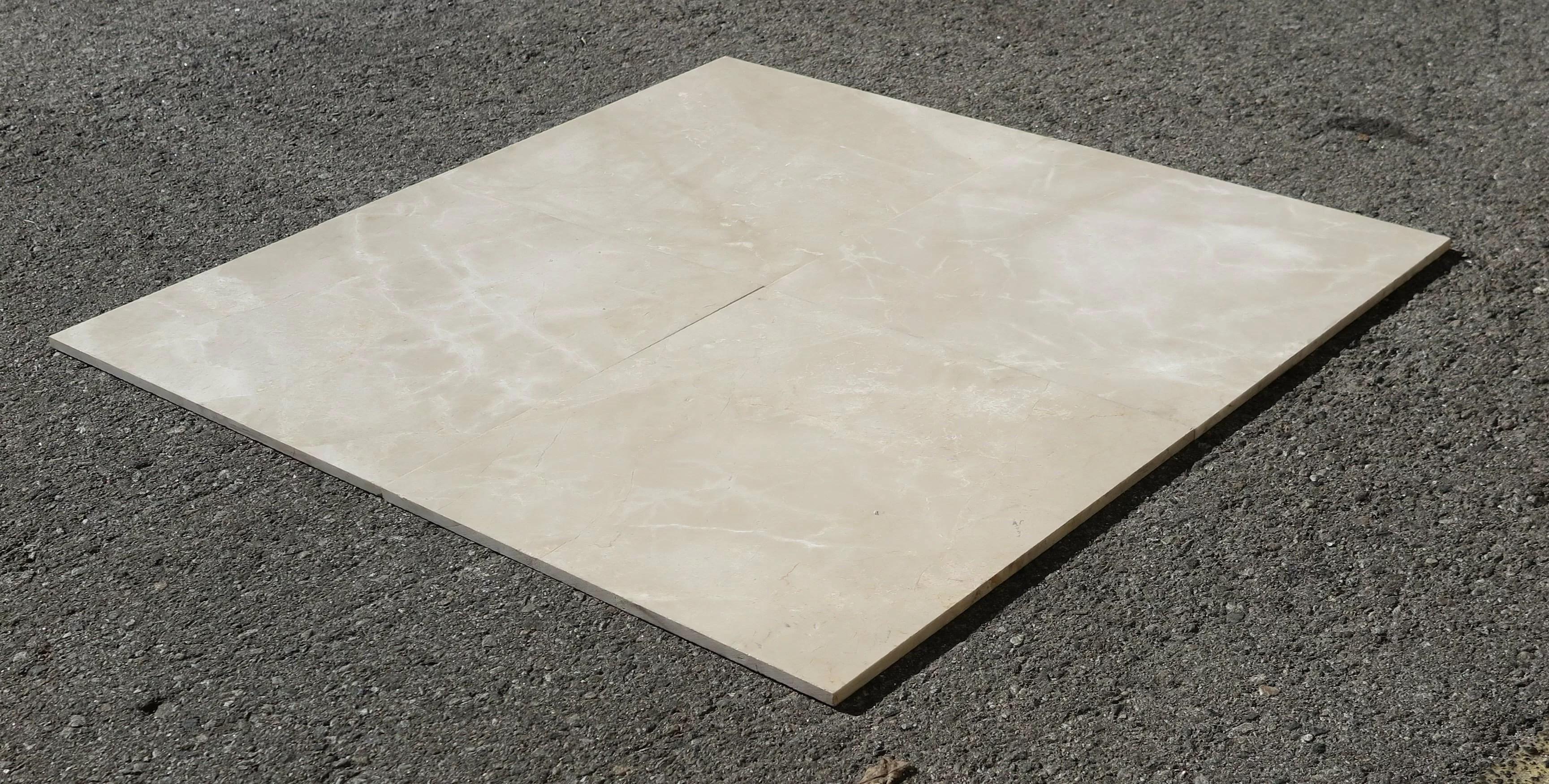 crema beige polished 18x18 marble field tile