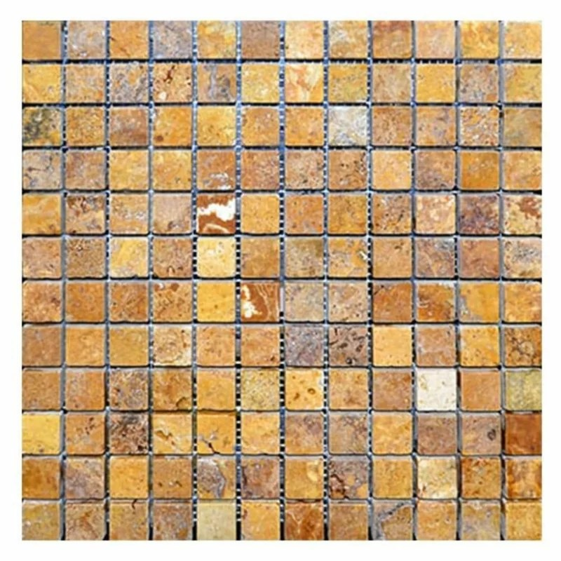 gold travertine 1x1 tumbled mosaic tile