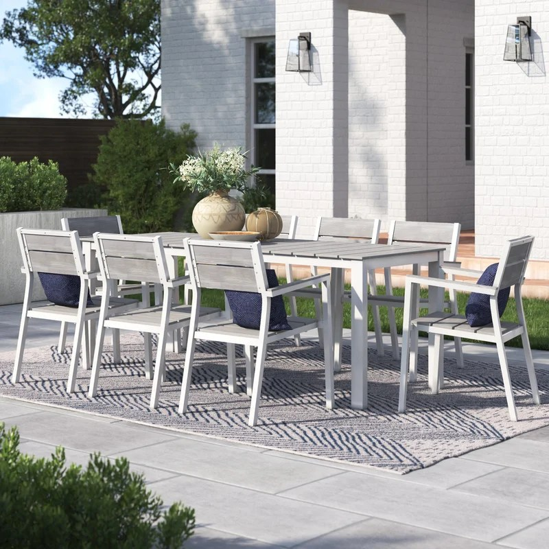 churchton rectangular 8 person 29 5 long aluminum dining set