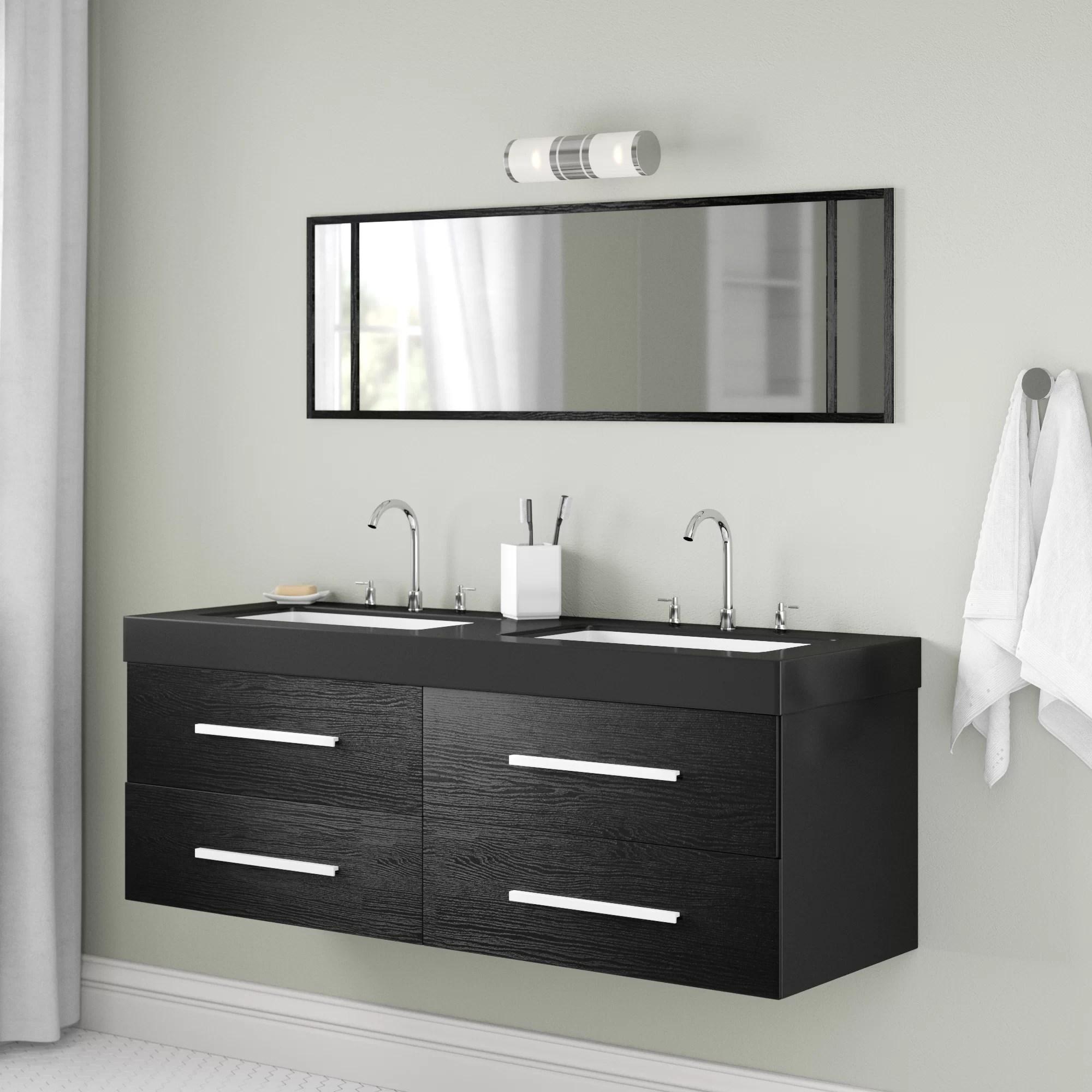 Ebern Designs 140cm Wall Mounted Double Sink Vanity Unit Wayfair Co Uk