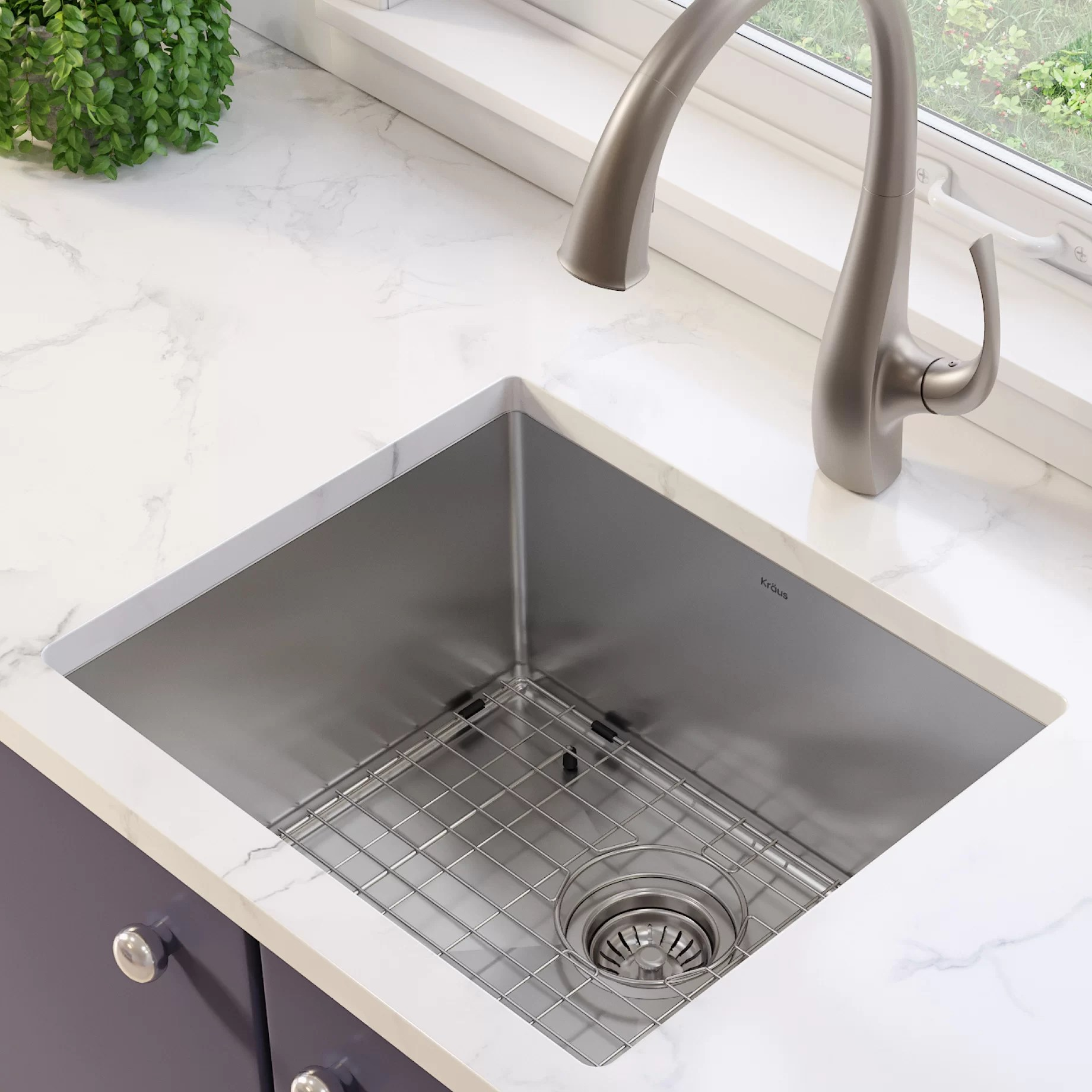 standart pro 16 gauge 21 x 18 undermount kitchen sink with bottom grid drain assembly and drain cap