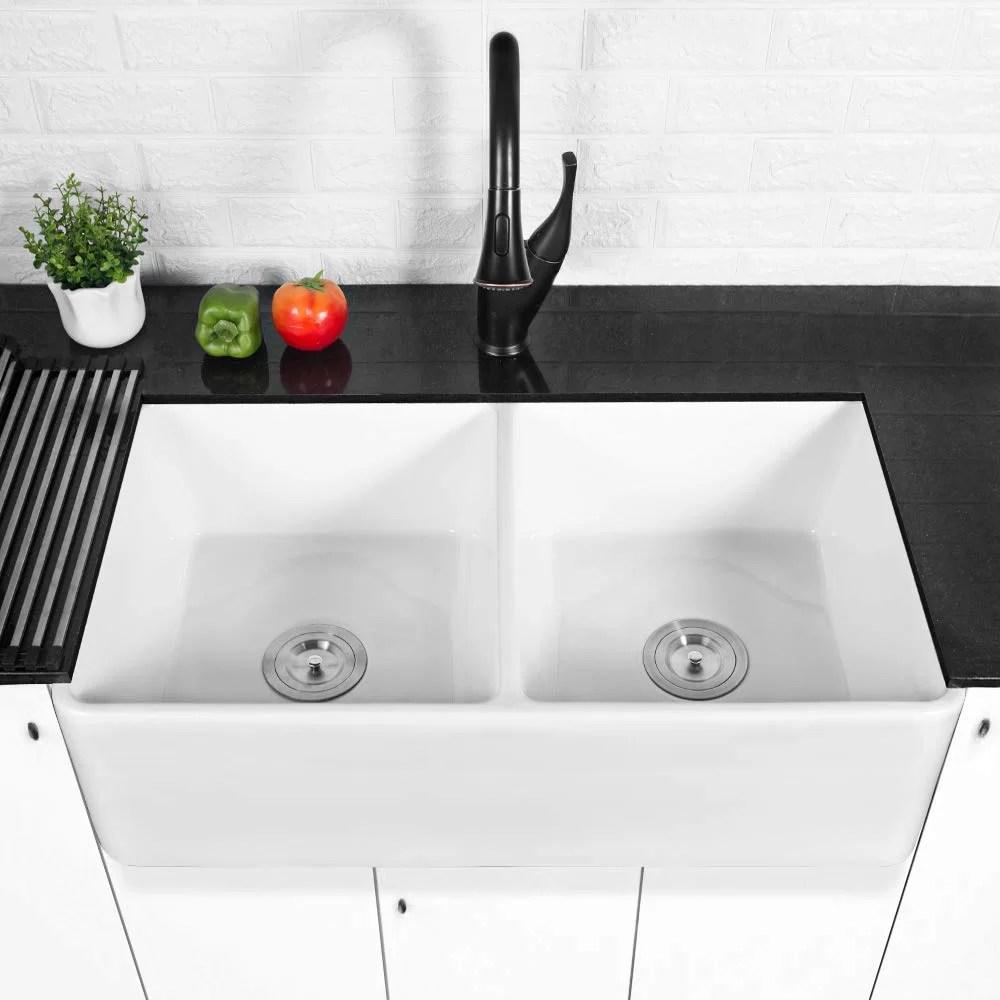 32 l x 20 w double basin farmhouse kitchen sink with basket strainer