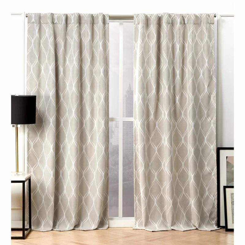 geometric room darkening thermal tab top curtain panels