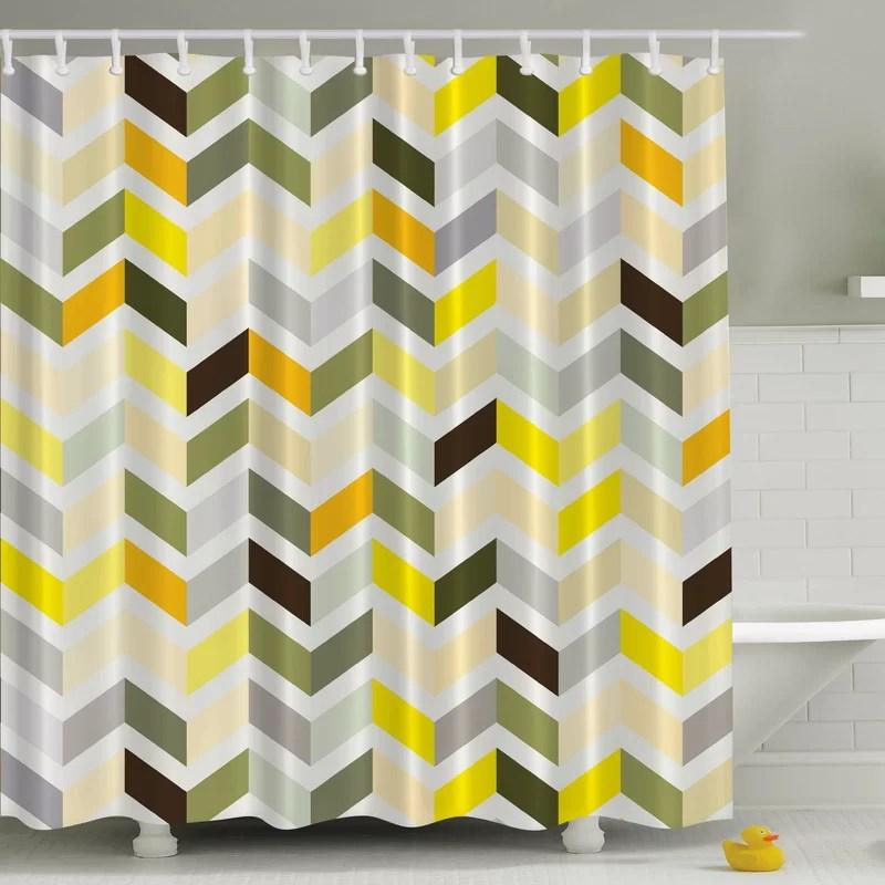 retro zig zag print single shower curtain