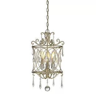 romane 3 light lantern cylinder pendant with crystal accents