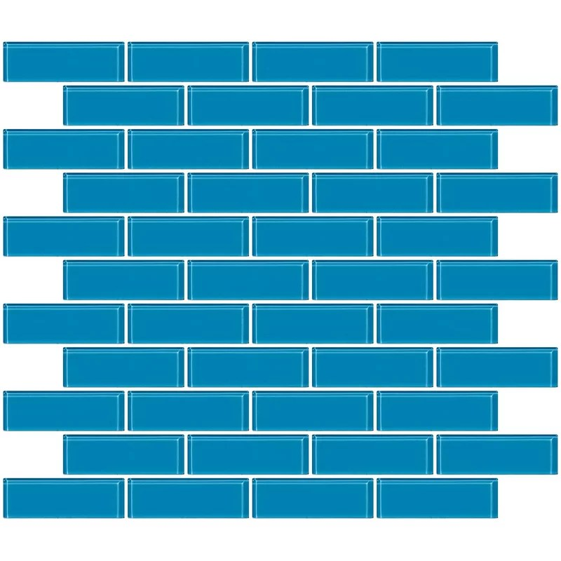 kimanh 1 x 3 glass subway tile in glossy turquoise blue