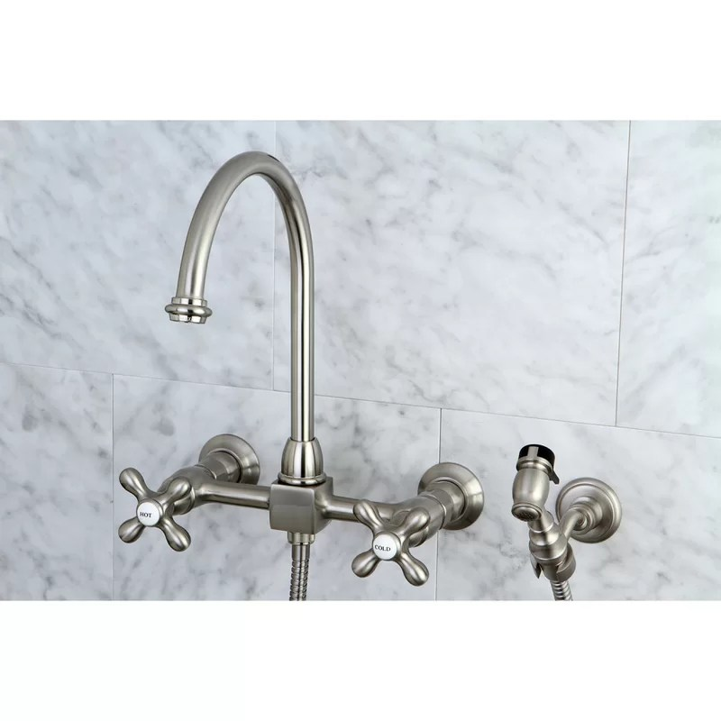 restoration wall mount double handle kitchen faucet with side spray