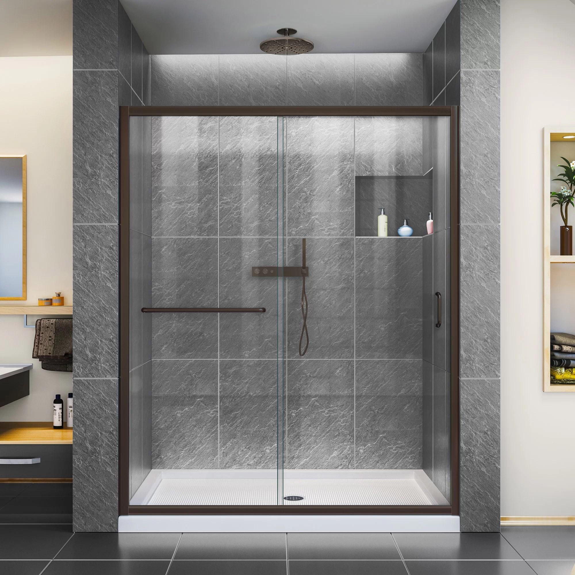 Infinity Z 60 X 72 Sliding Semi Frameless Clear Shower Door