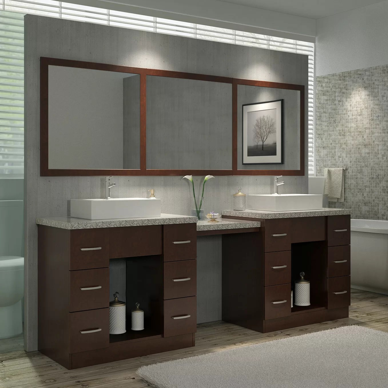 mustard 97 double sink vanity set with mirror and makeup table