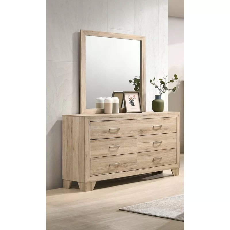 neo 6 drawer double dresser with mirror