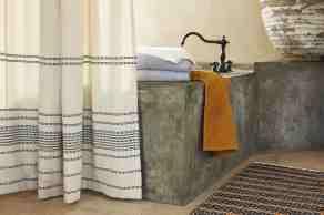 Coyuchi Rippled Stripe 100 Cotton Single Shower Curtain
