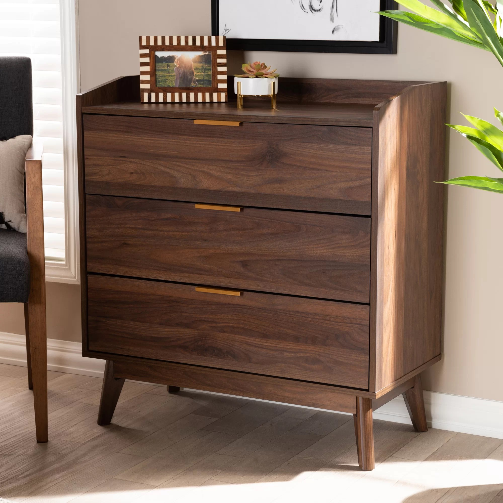 abe mid century modern 3 drawer bachelor s chest in brown