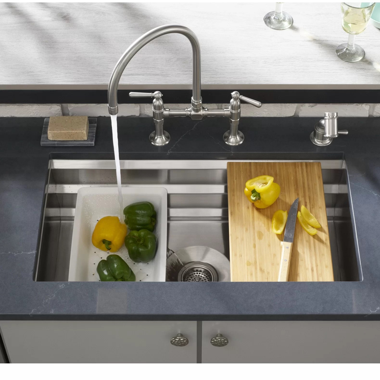 prolific 29 in x 17 3 4 in x 10 in under mount single bowl kitchen sink with accessories