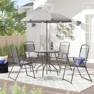 tollette round 4 person 31 25 long dining set with umbrella