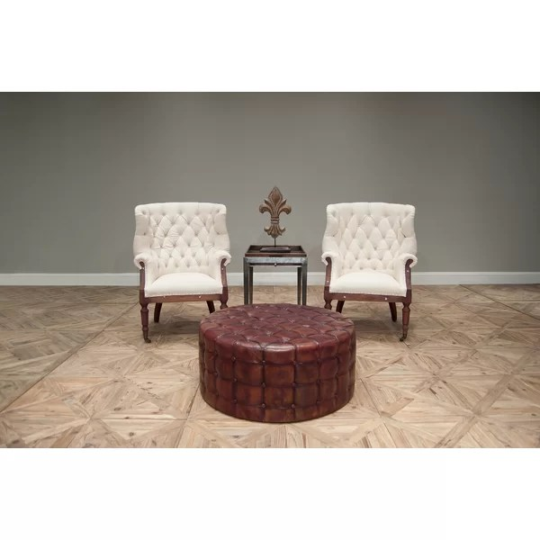 36 inch round leather ottoman