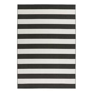 cecil stripes flatweave black white rug
