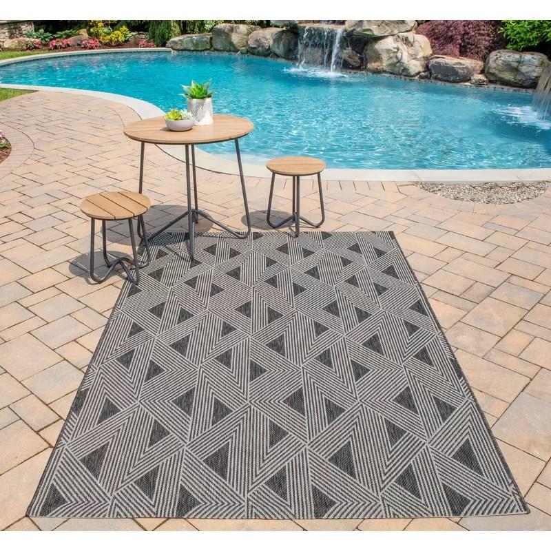 sardinia striped charcoal black indoor outdoor area rug
