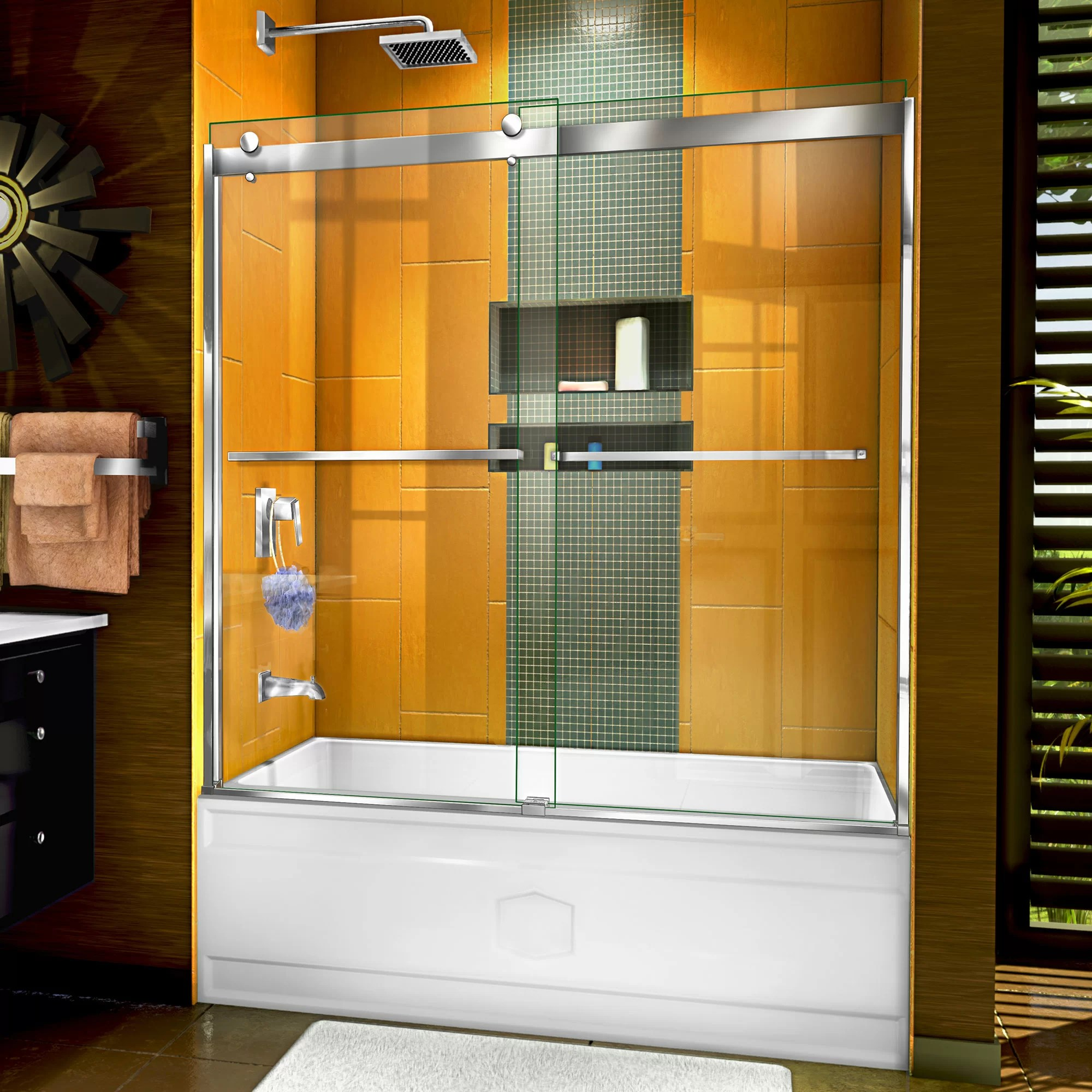 Sapphire 56 60 X 60 Bypass Semi Frameless Tub Door With Clearmax Technology