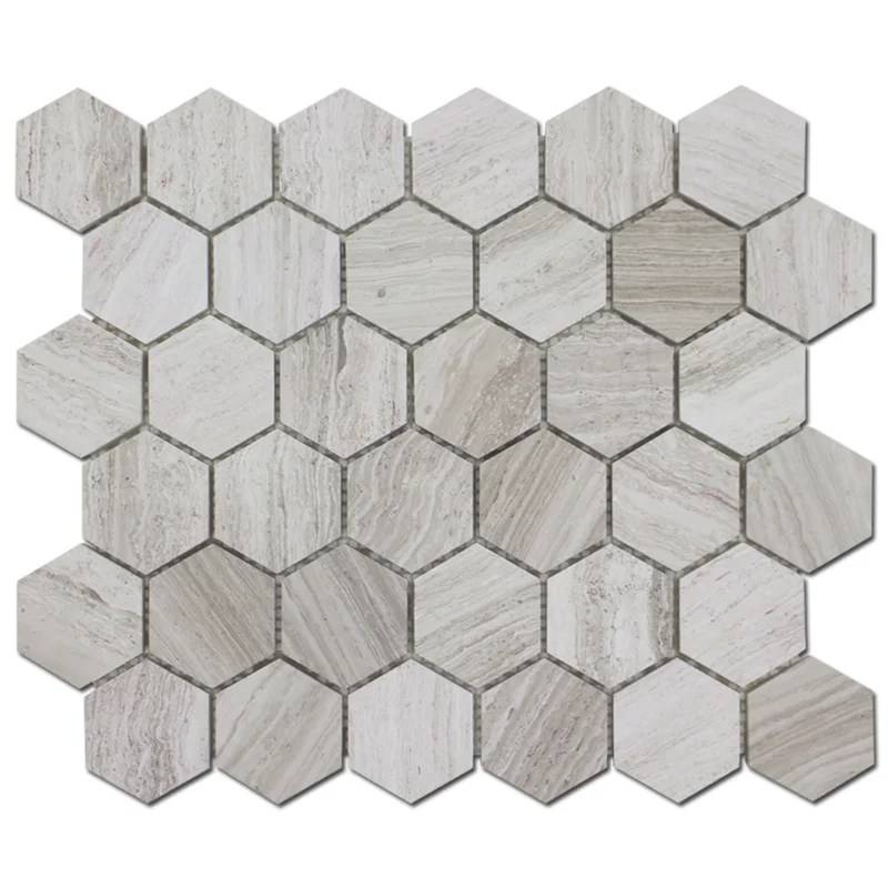 honeycomb 2 x 2 marble mosaic tile in wooden white