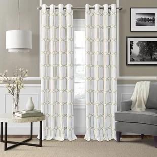 kittie geometric room darkening thermal grommet single curtain panel