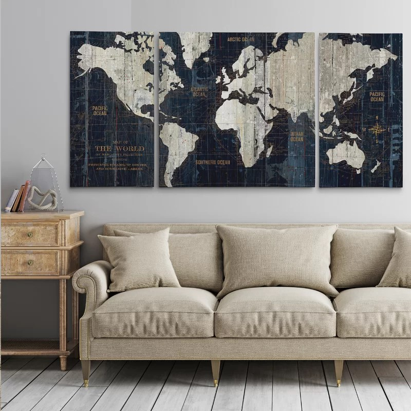 'Old World Map Blue' Framed Graphic Art Print on Wrapped Canvas