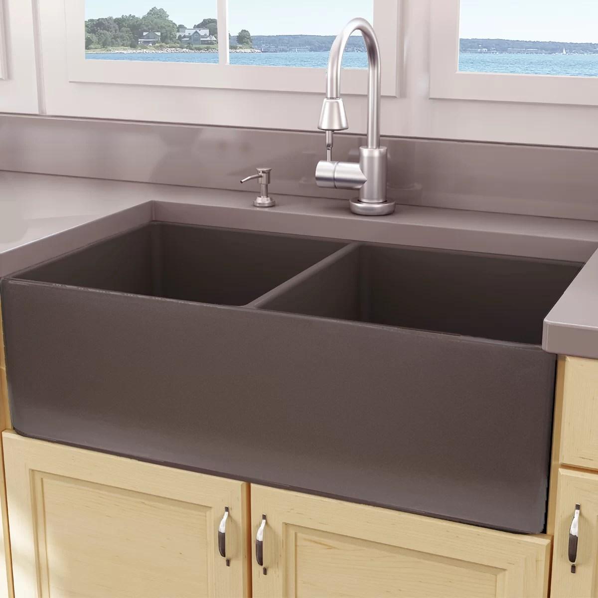cape 33 l x 18 w double basin farmhouse apron kitchen sink
