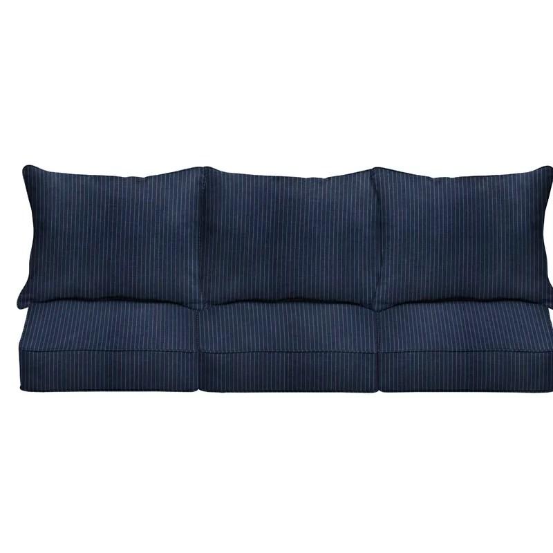 6 piece deep seating striped indoor outdoor sunbrella sofa cushion set