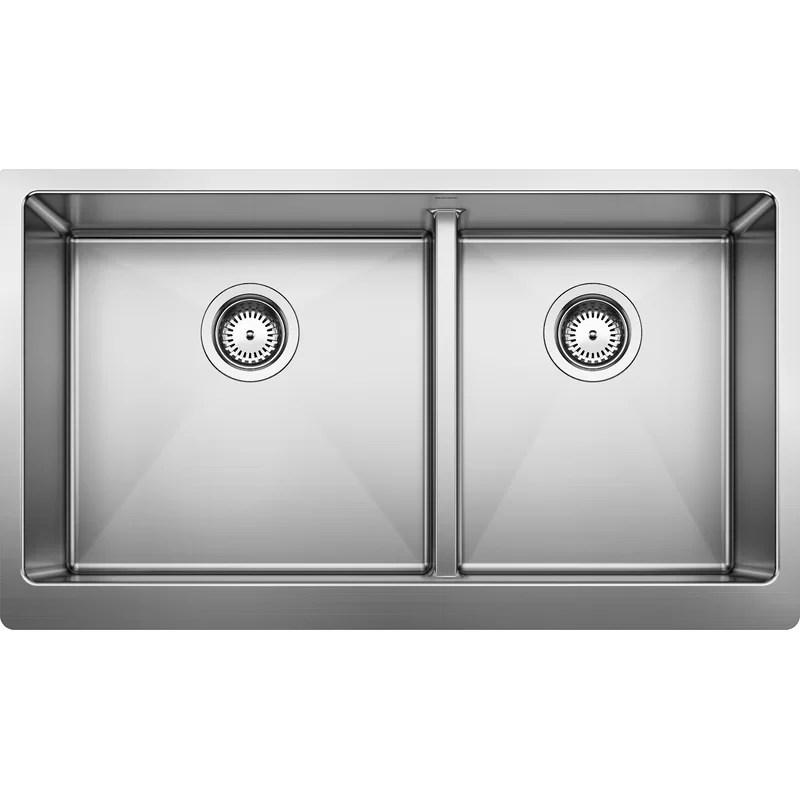 blanco quatrus r15 33 l x 19 w double basin farmhouse on farmhouse sink lowest price id=60738
