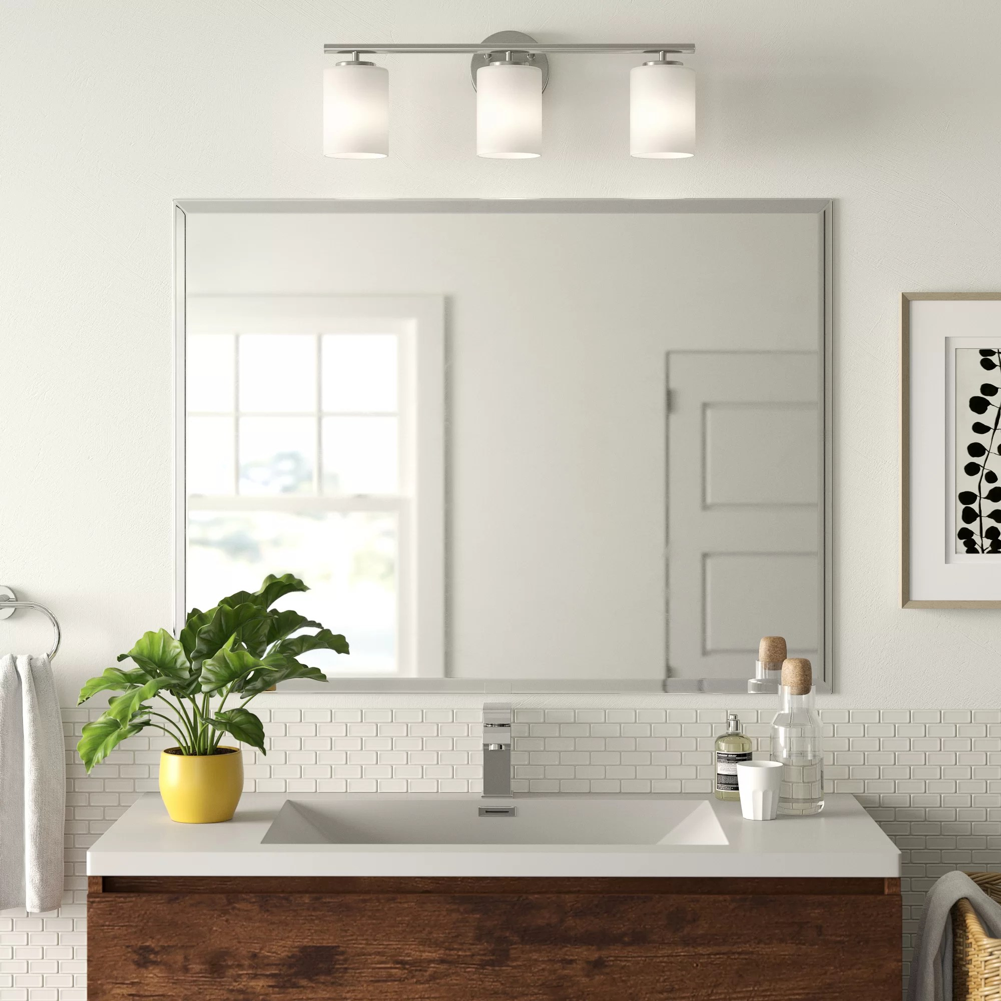 Zipcode Design Marylee Rectangle Beveled Polish Frameless Wall Mirror With Hooks Reviews Wayfair Ca