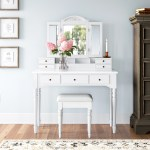 Darby Home Co Bowdon Vanity Set With Stool And Mirror Reviews Wayfair