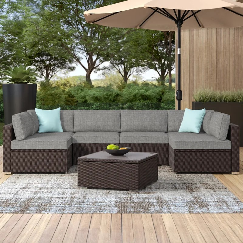 bozman wicker rattan 6 person seating group with cushions