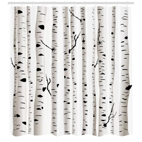 birch tree shower curtain set hooks