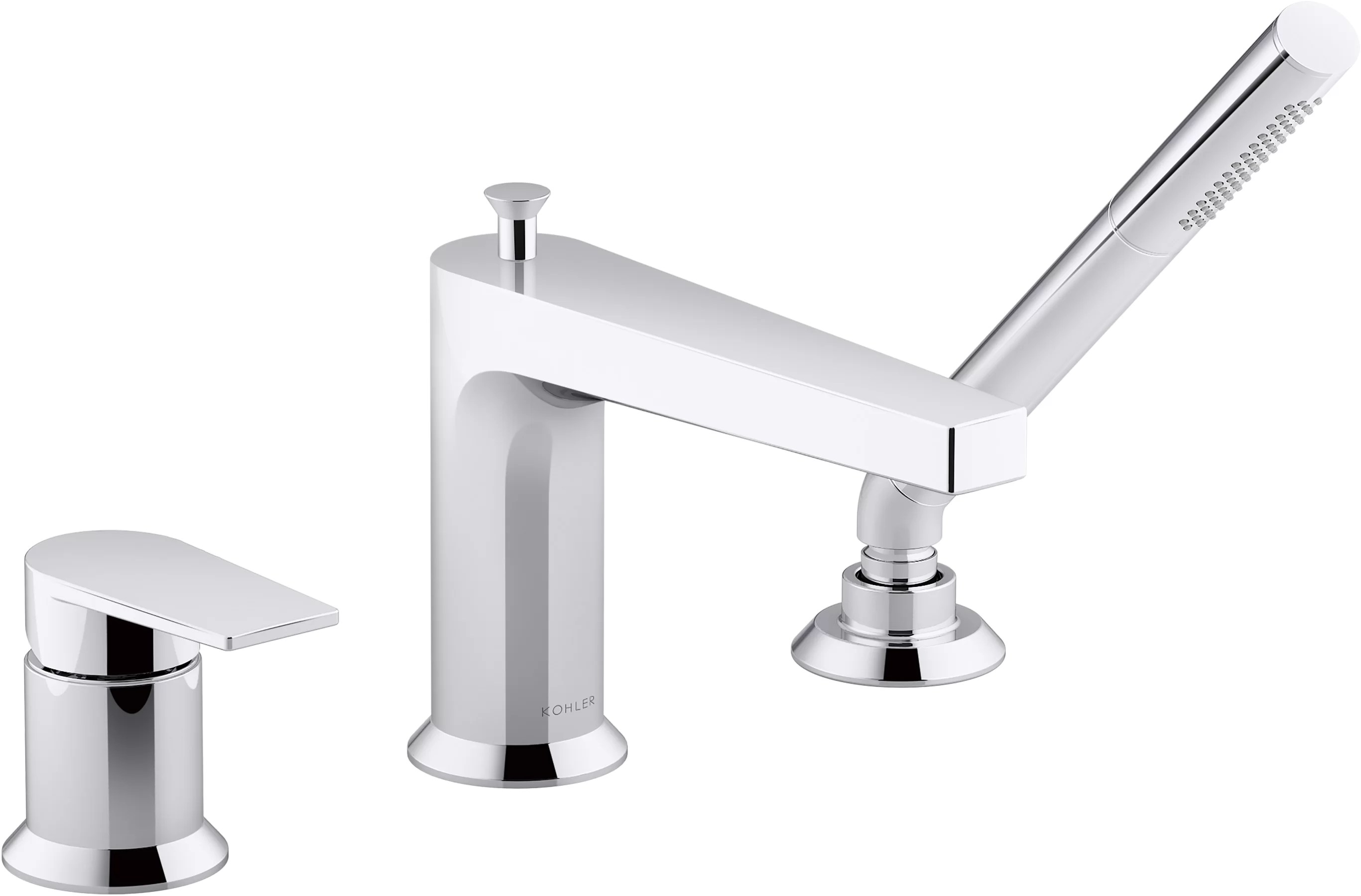taut single handle deck mounted roman tub faucet with diverter and handshower