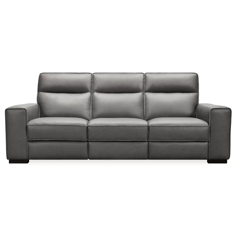 95 wide genuine leather square arm reclining sofa