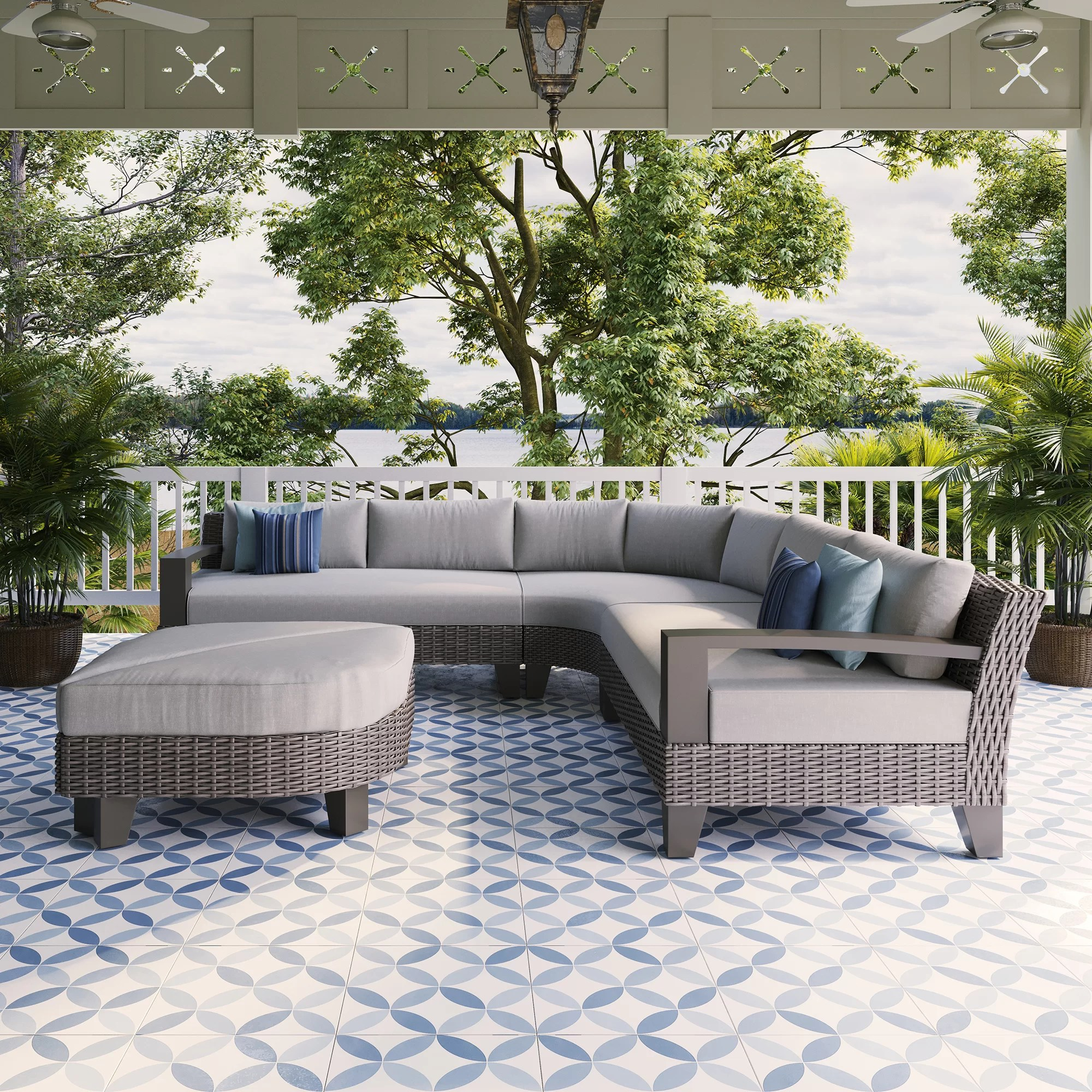 oakland patio 5 piece rattan sectional seating group with cushions