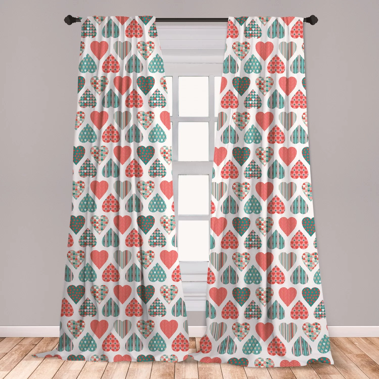 ambesonne valentines 2 panel curtain set retro style up and down hearts with stripes waves and checkered patterns lightweight window treatment
