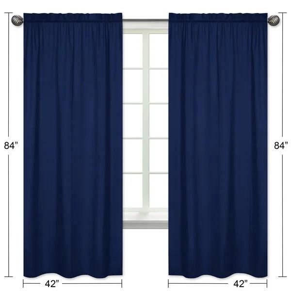 stripe collection navy blue semi sheer rod pocket curtain panels